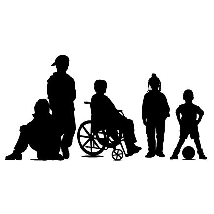 Silhouette image of a group of five children