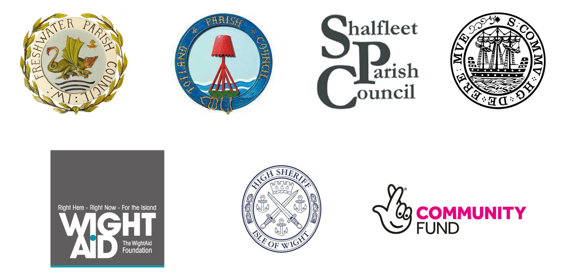 West Wight Timebank funding partners image. Freshwater Parish Council, Totland Parish Council, Shalfleet Parish Council, Wight Aid, Isle of Wight High Sherrif and the National Lottery Community Fund